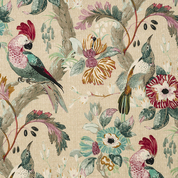 Conservatory bird cushion cover, mulberry