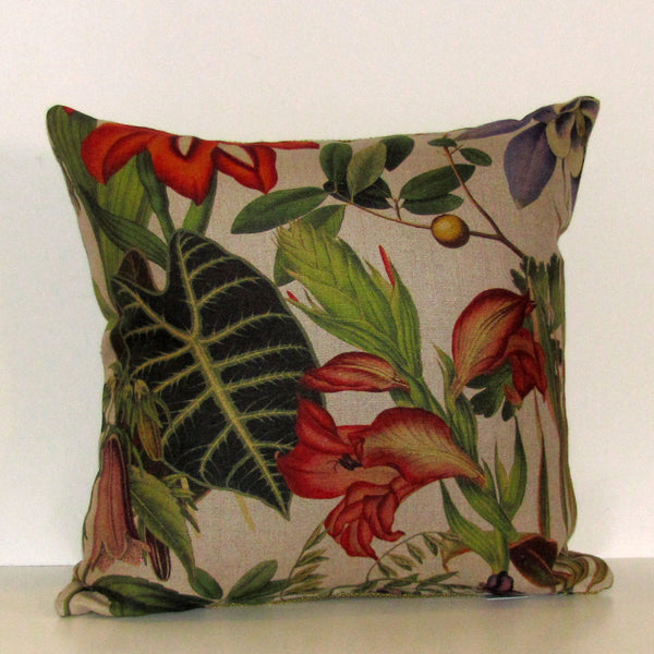Twining linen cushion cover, green reverse