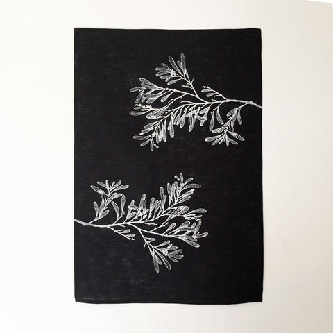 Blackwood linen teatowel, black