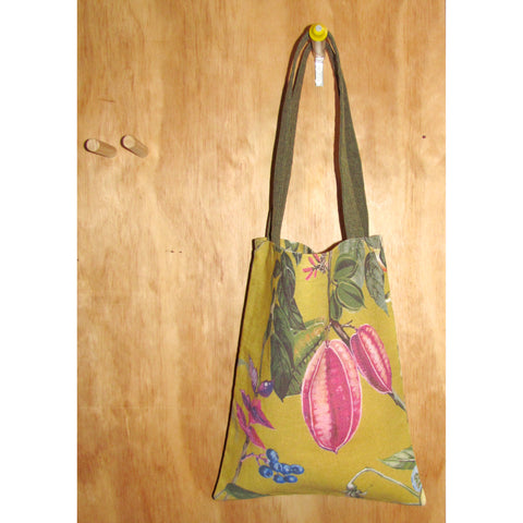 handy tote, mustard linen with olive handles