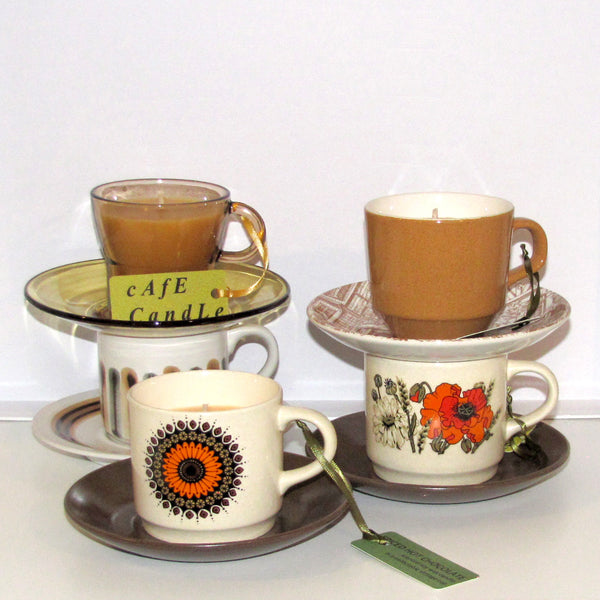 cafe candle, French glass cup & saucer