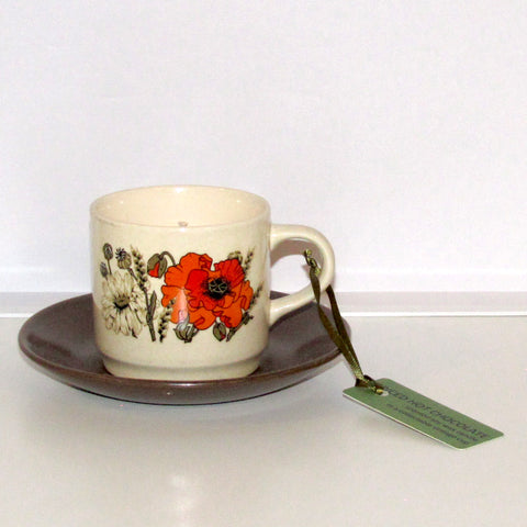 cafe candle, Johnson Australia poppy cup & saucer