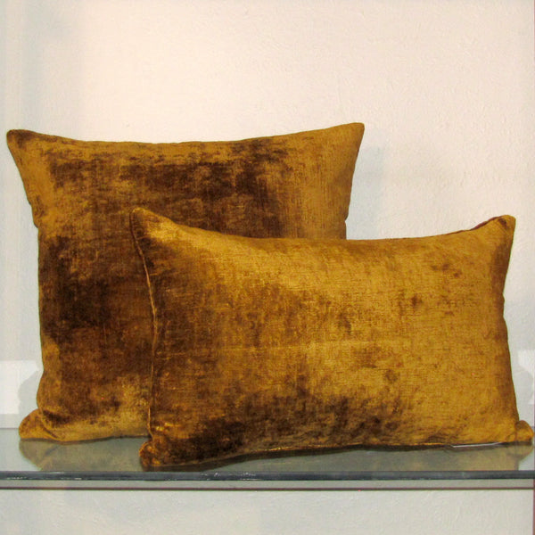 Golden mustard luxury Italian velvet cushion cover