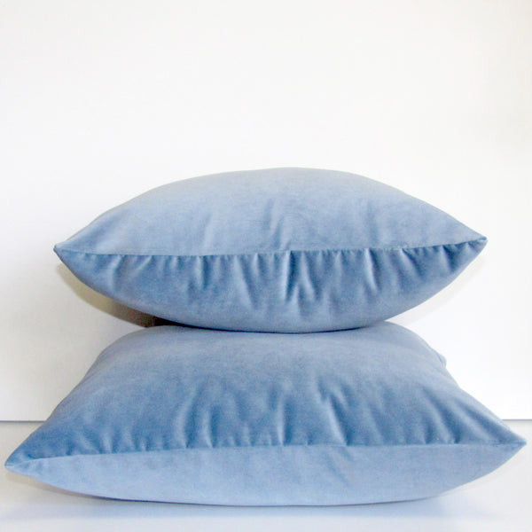 Cloud blue velvet cushion cover