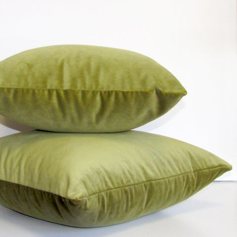 Moss green velvet cushion cover