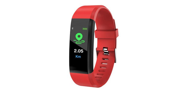 ID115 Plus Smart Watch/Bracelet Pedometer Fitness Tracker - Red