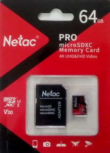 Netac 64GB UHS-I U3 V30 Micro SDXC/SD Memory card with adapter