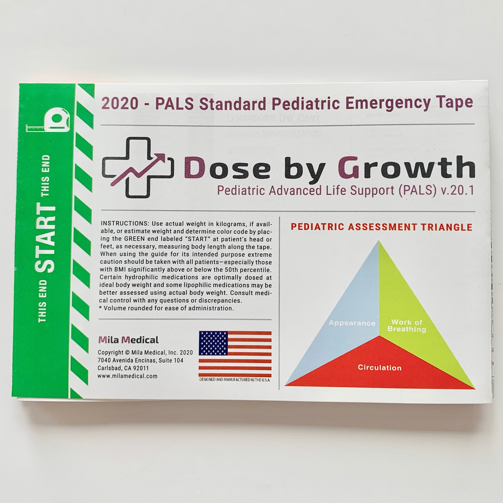 2020 Dose By Growth PALS Pediatric Emergency Tape