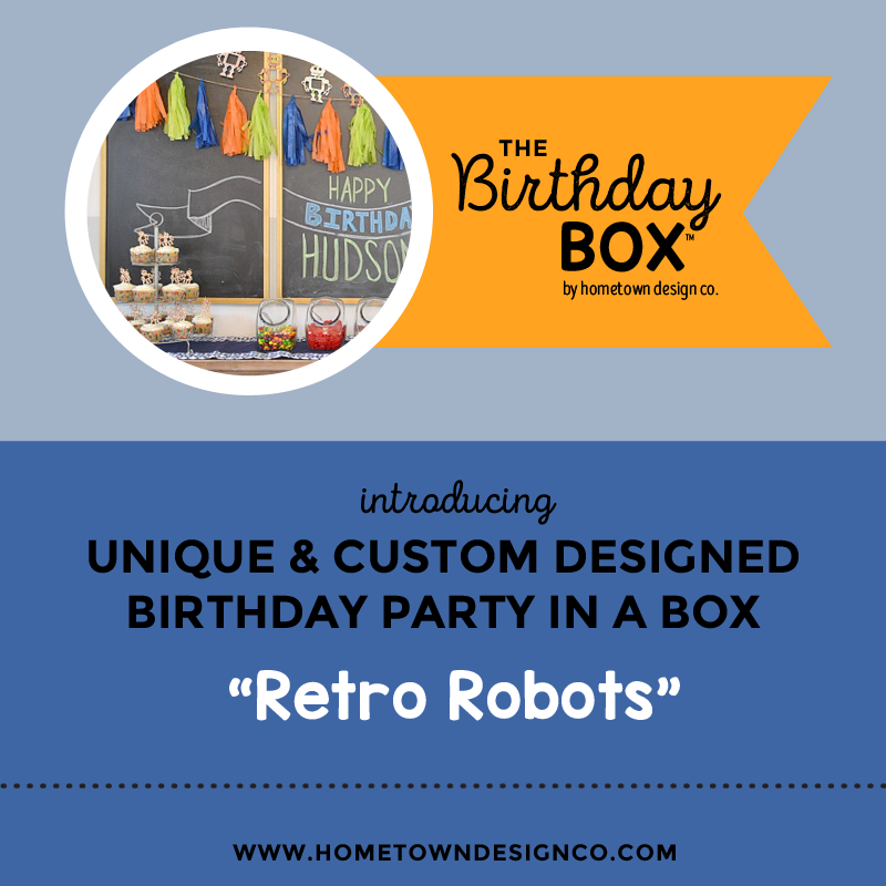 Retro Robots Birthday Party Box