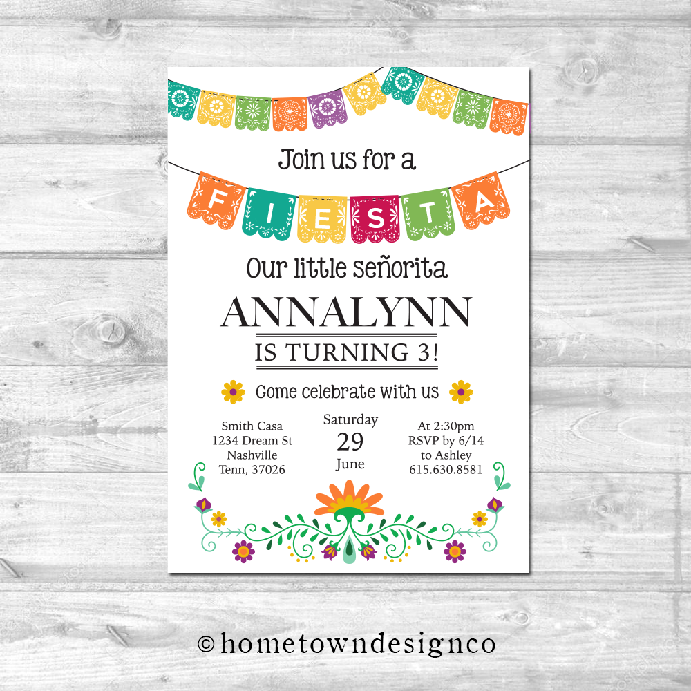 Colorful Fiesta Birthday Invitation