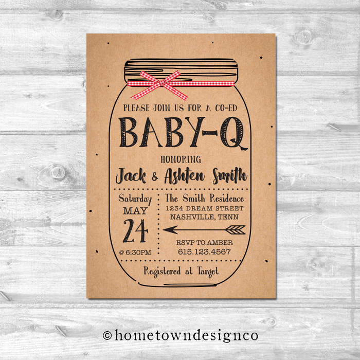BBQ Mason Jar Shower Invitation