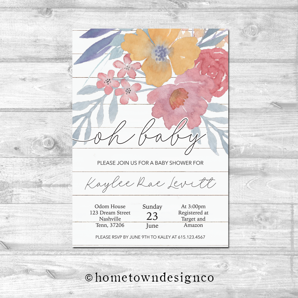 Shipap Floral Baby Shower Invitation