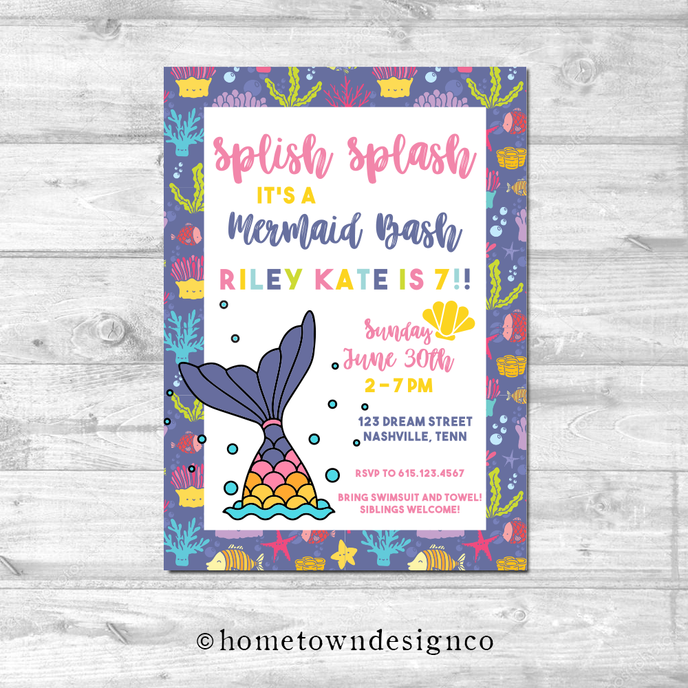Splish Splash Mermaid Bash Birthday Invitation