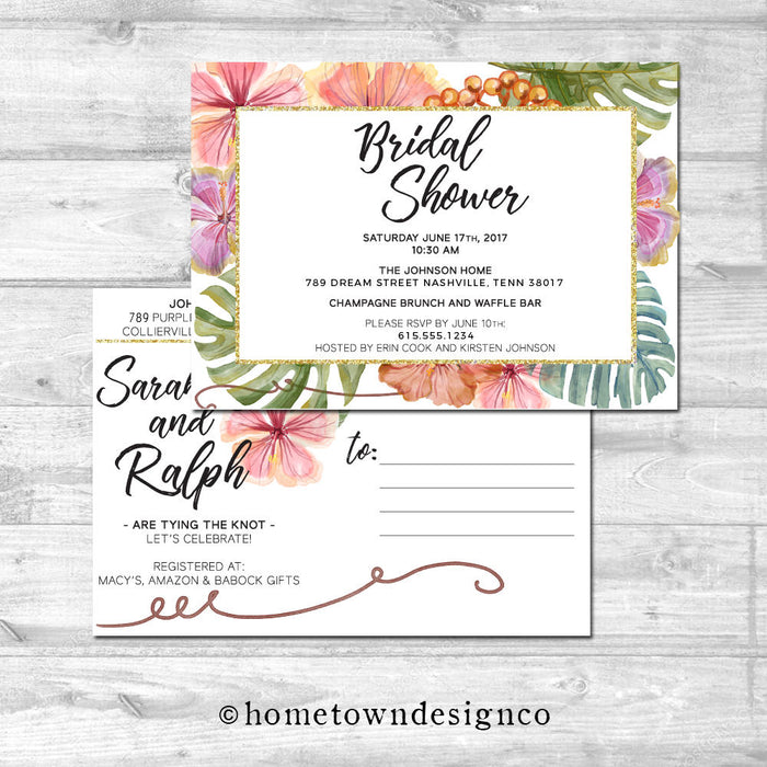 Tropical Palm Leaves Bridal Shower Invitation