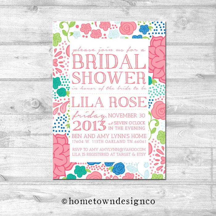 Pink Spring Floral Bridal Shower Invitation