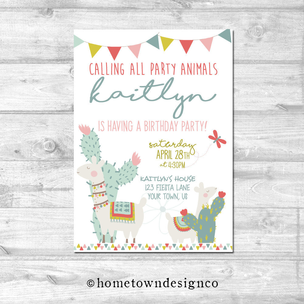 Calling All Party Animals Llama Birthday Invitation
