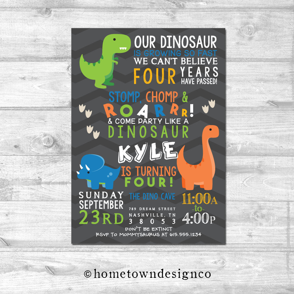 Roarrrr! Dino Birthday Invitation