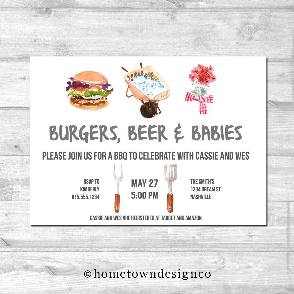 Burgers & Babies BBQ Shower Invitation