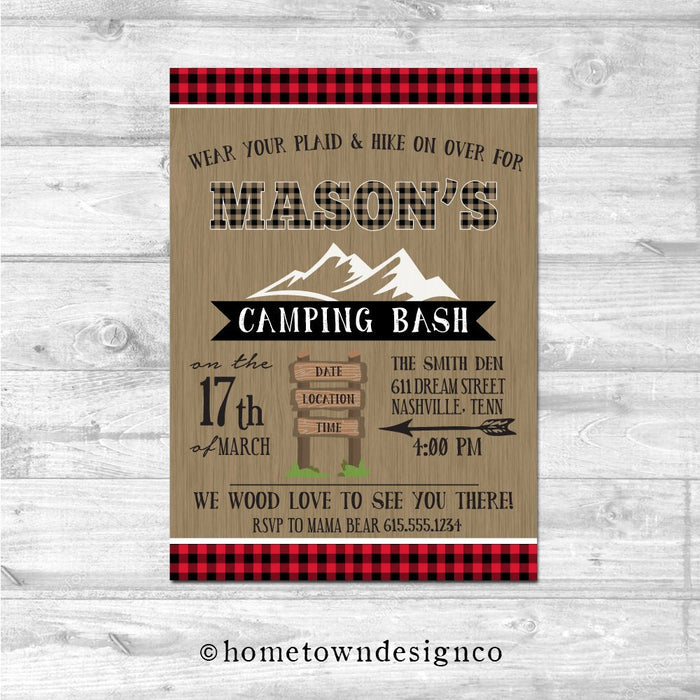 Lumberjack Smores Camping Birthday Invitation