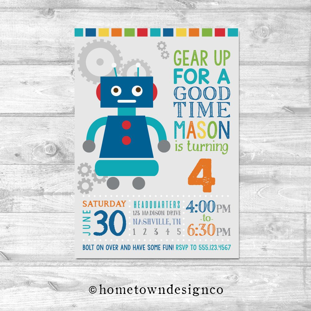 Retro Robots Birthday Invitation