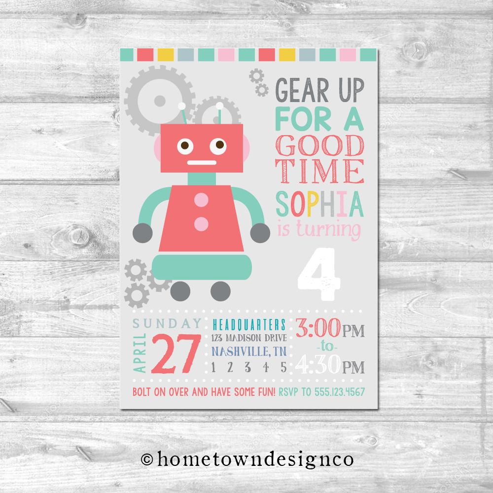 Girl Retro Robots Birthday Invitation