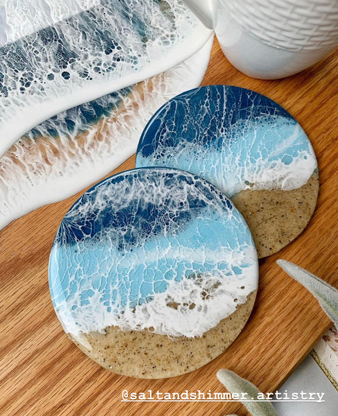 resin coasters with sea foam