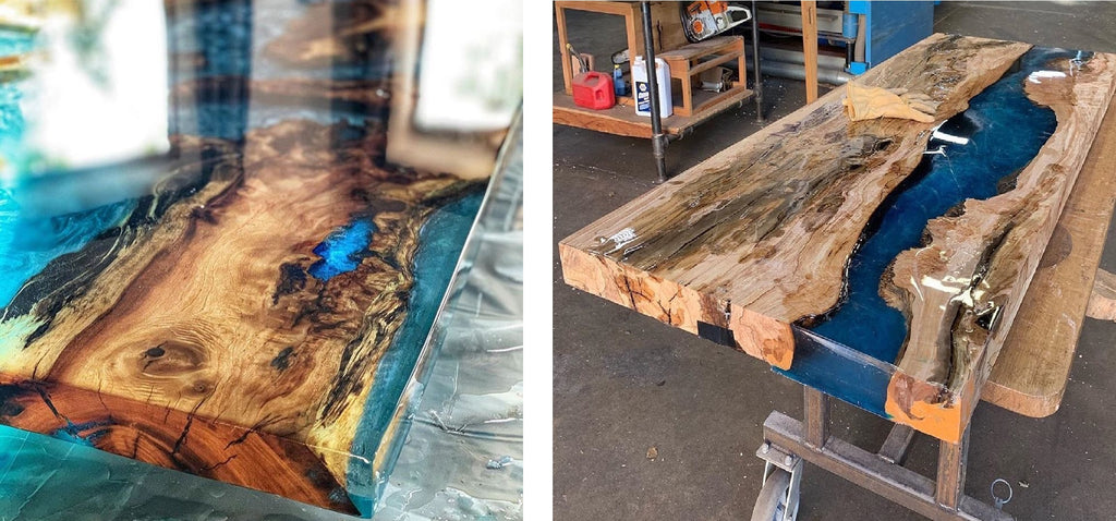 blue epoxy resin river dinning table