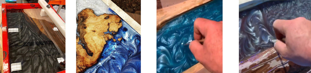 making swirls in epoxy resin river tables