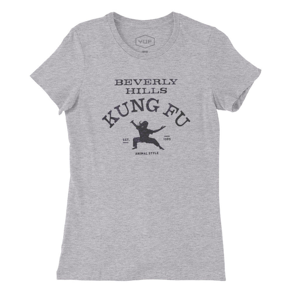 Athletic Gray women's cut classic fashion t-shirt with a retro, vintage-inspired sarcastic graphic of a meme-type Kung Fu martial arts studio in Beverly Hills. From the ironic brand YUF.