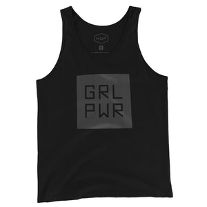 "A black unisex tank t-shirt with a bold graphic representing ""Girl Power,"" abbreviated as GRL PWR. By fashion brand YUF, from wolfsaint.net"