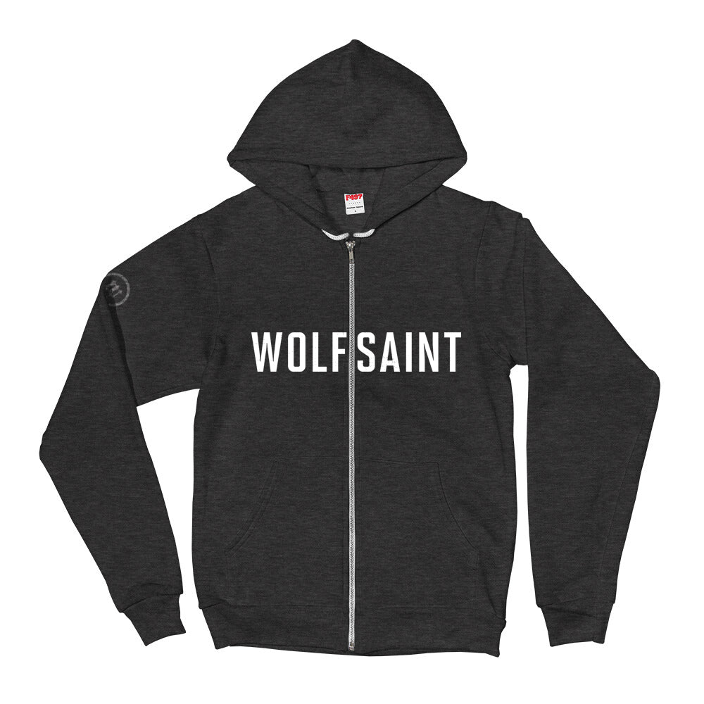 A fashionable trendy Dark Heather Gray zippered hoodie sweatshirt with the WOLFSAINT gothic logo in white across the chest. From fashion brand wolfsaint.net