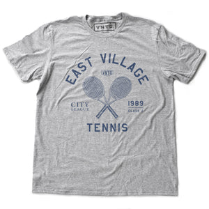 East Village Tennis — Retro Unisex T-Shirt