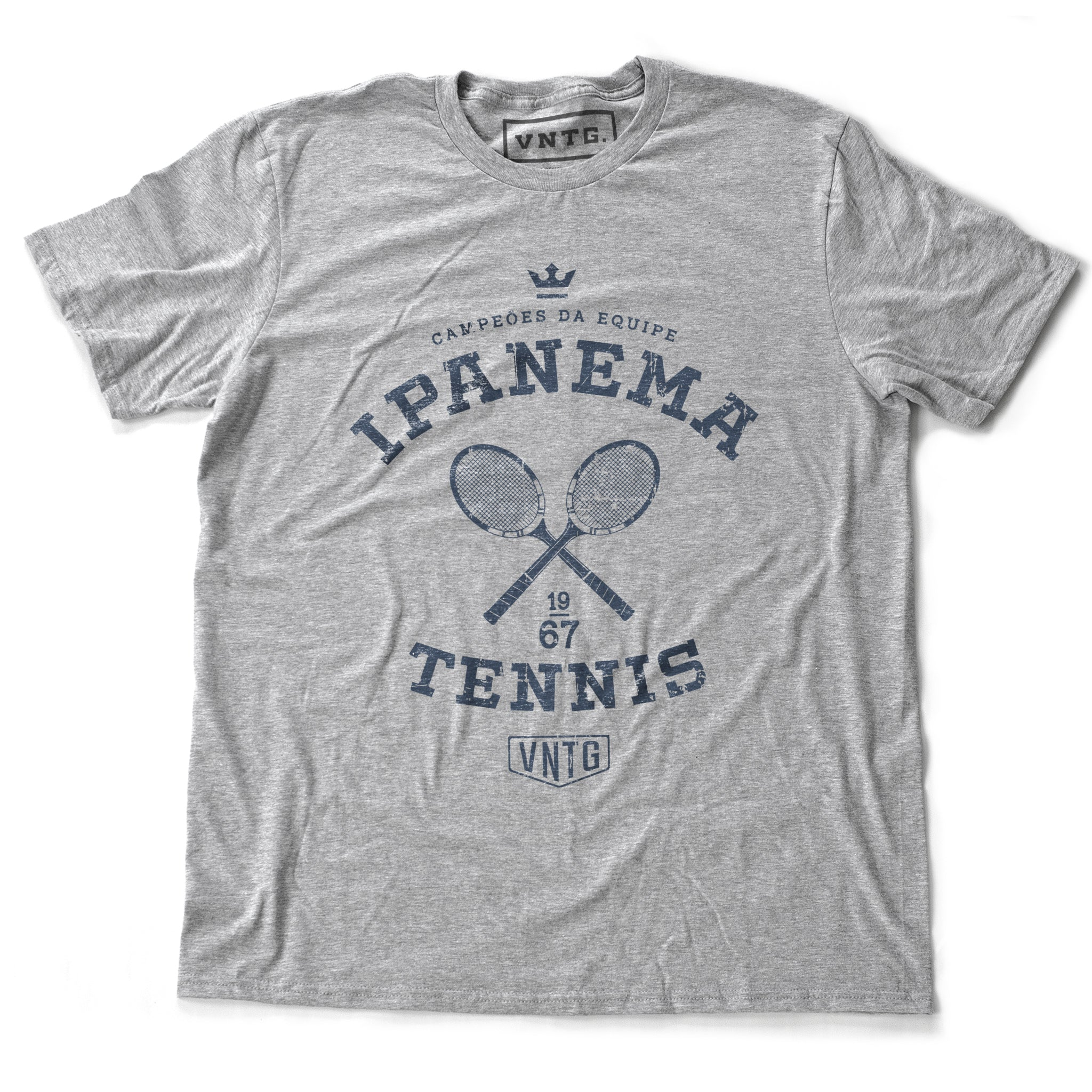 Vintage-inspired, retro graphic sports t-shirt in Athletic Heather Gray, as a 'team' shirt for a fictitious tennis team championship in Ipanema, Rio de Janeiro, Brazil. By fashion brand VNTG., from wolfsaint.net