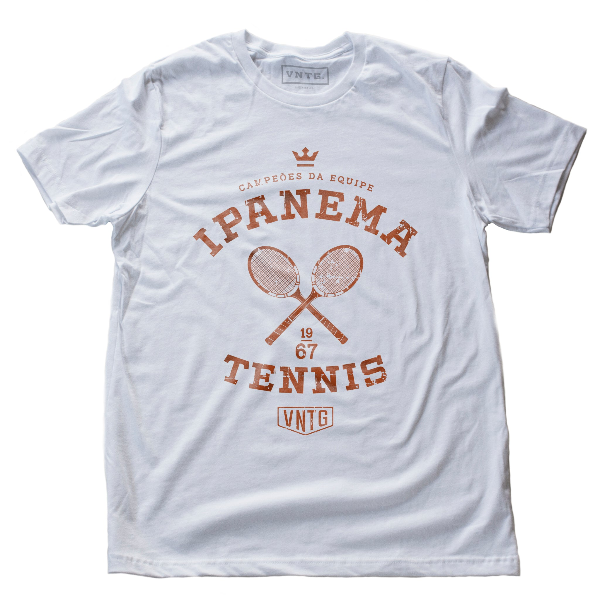 Vintage-inspired, retro graphic sports t-shirt in White and Clay, as a 'team' shirt for a fictitious tennis team championship in Ipanema, Rio de Janeiro, Brazil. By fashion brand VNTG., from wolfsaint.net
