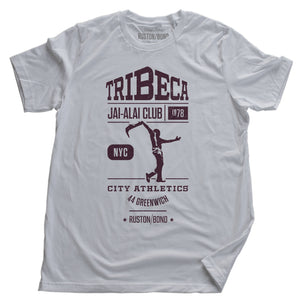 "A classic, vintage-inspired, retro graphic t-shirt for an imaginary sports club in TriBeCa, New York City—""TriBeCa Jai-Alai Club, city athletics, 1978."" By fashion brand RUSTON/BOND, from wolfsaint.net"