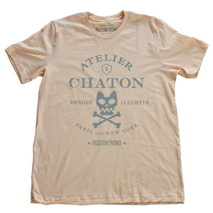 Soft Cream retro, vintage-inspired fashion t-shirt for a fictional graphic design studio in Paris and New York, featuring a graphic of a cat skull and cross bones, from brand Ruston/Bond. From wolfsaint.net