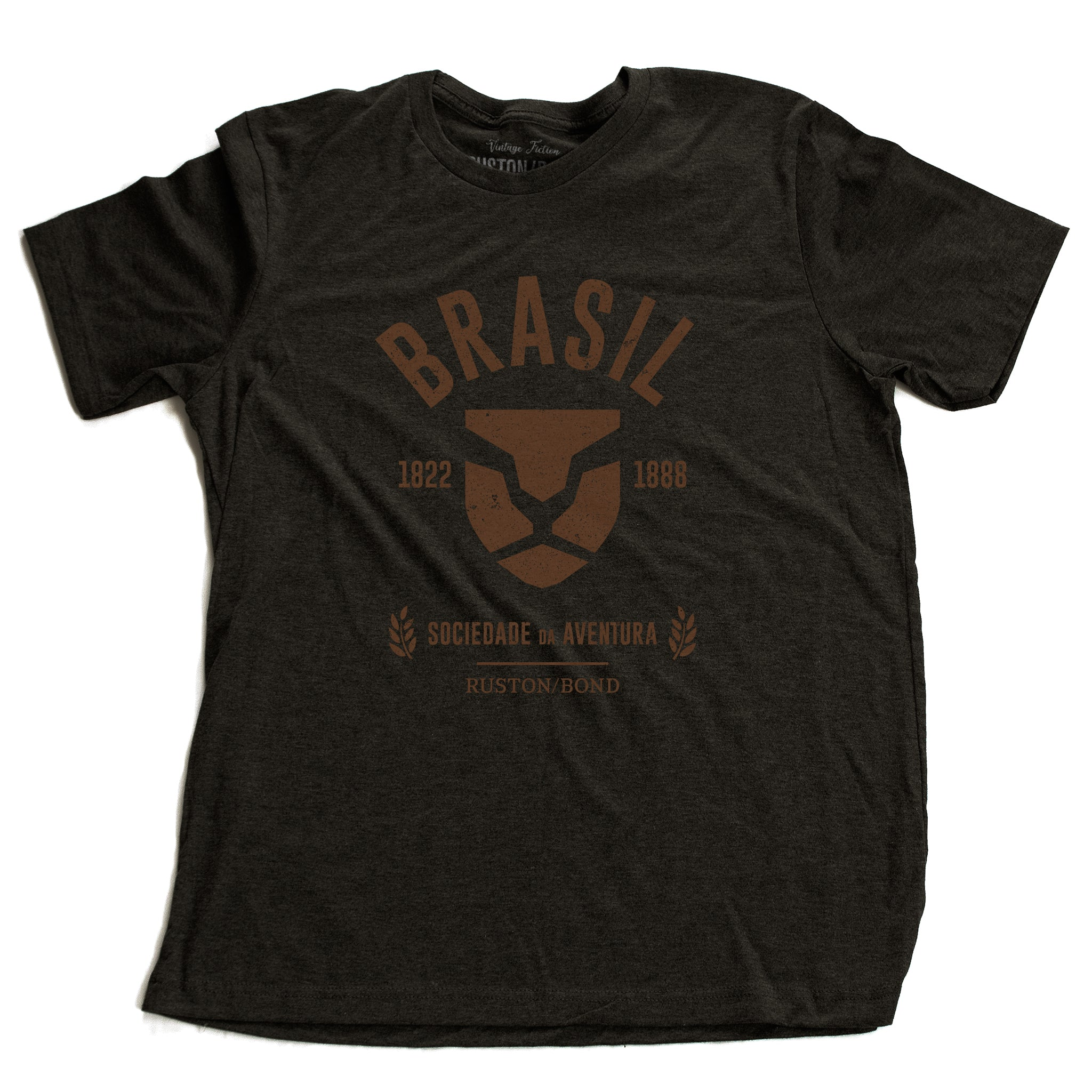 Dark Gray Heather fashion, retro-inspired t-shirt featuring classic graphic of a strong, minimalist Lion head, for a fictional adventure society in Brazil / Brasil from 1822 to 1888, by the brand Ruston/Bond. From wolfsaint.net