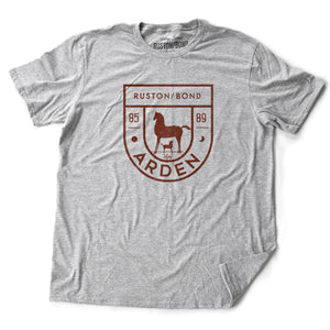 Athletic Gray vintage, retro-inspired fashion t-shirt, with elegant classic typography and a horse (mare) and foal with an equestrian, horse-riding theme, and 80s date: 1985 - 1989. By brand Ruston/Bond.