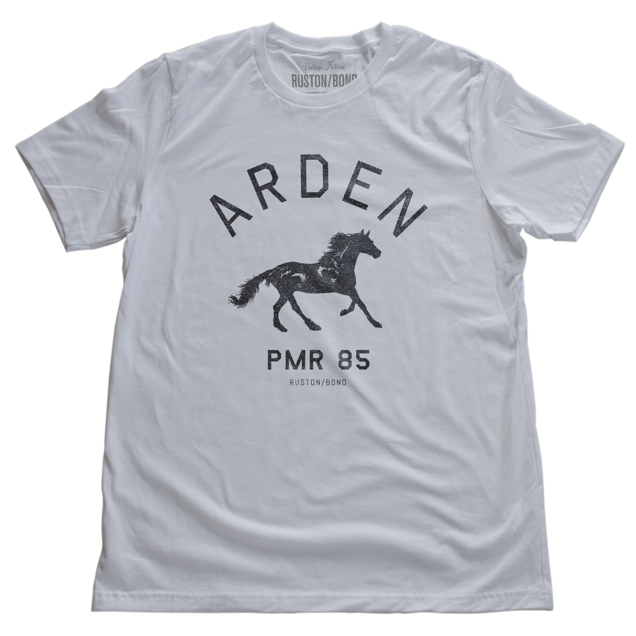 White vintage, retro-inspired fashion t-shirt, with elegant classic typography and a running horse with an equestrian, horse-riding theme. From wolfsaint.net