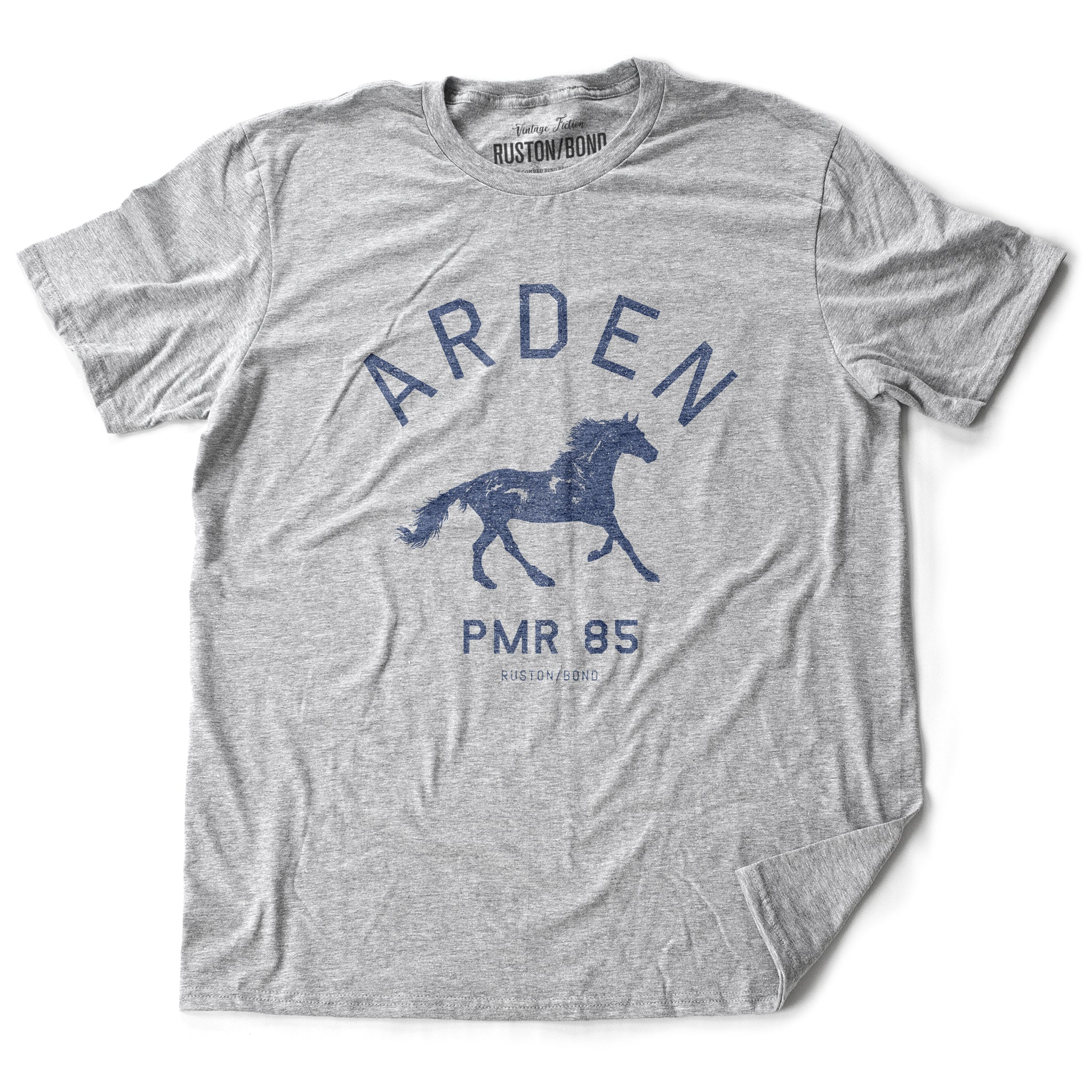 Athletic Gray vintage, retro-inspired fashion t-shirt, with elegant classic typography and a running horse with an equestrian, horse-riding theme. From wolfsaint.net