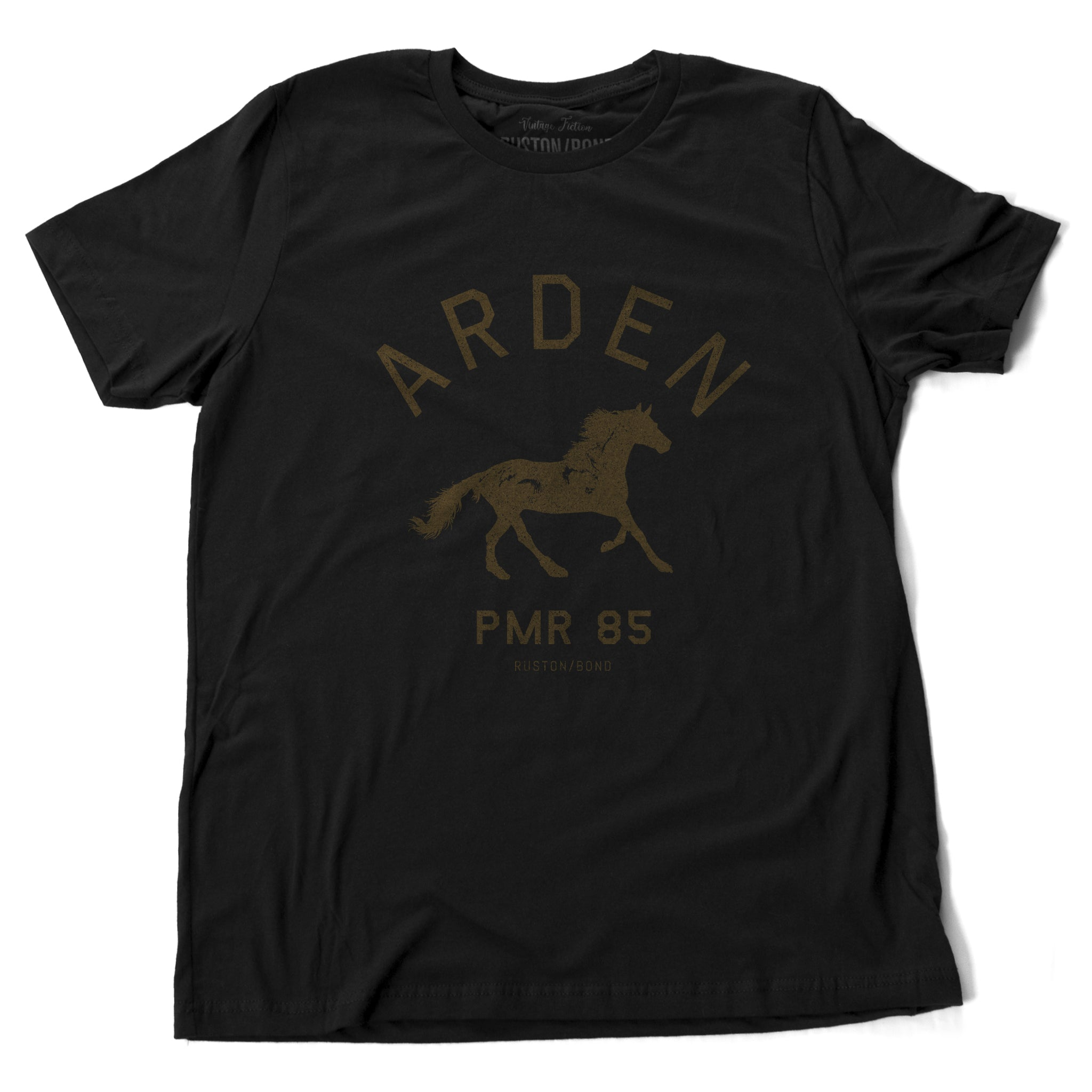 Black vintage, retro-inspired fashion t-shirt, with elegant classic typography and a running horse with an equestrian, horse-riding theme. From wolfsaint.net
