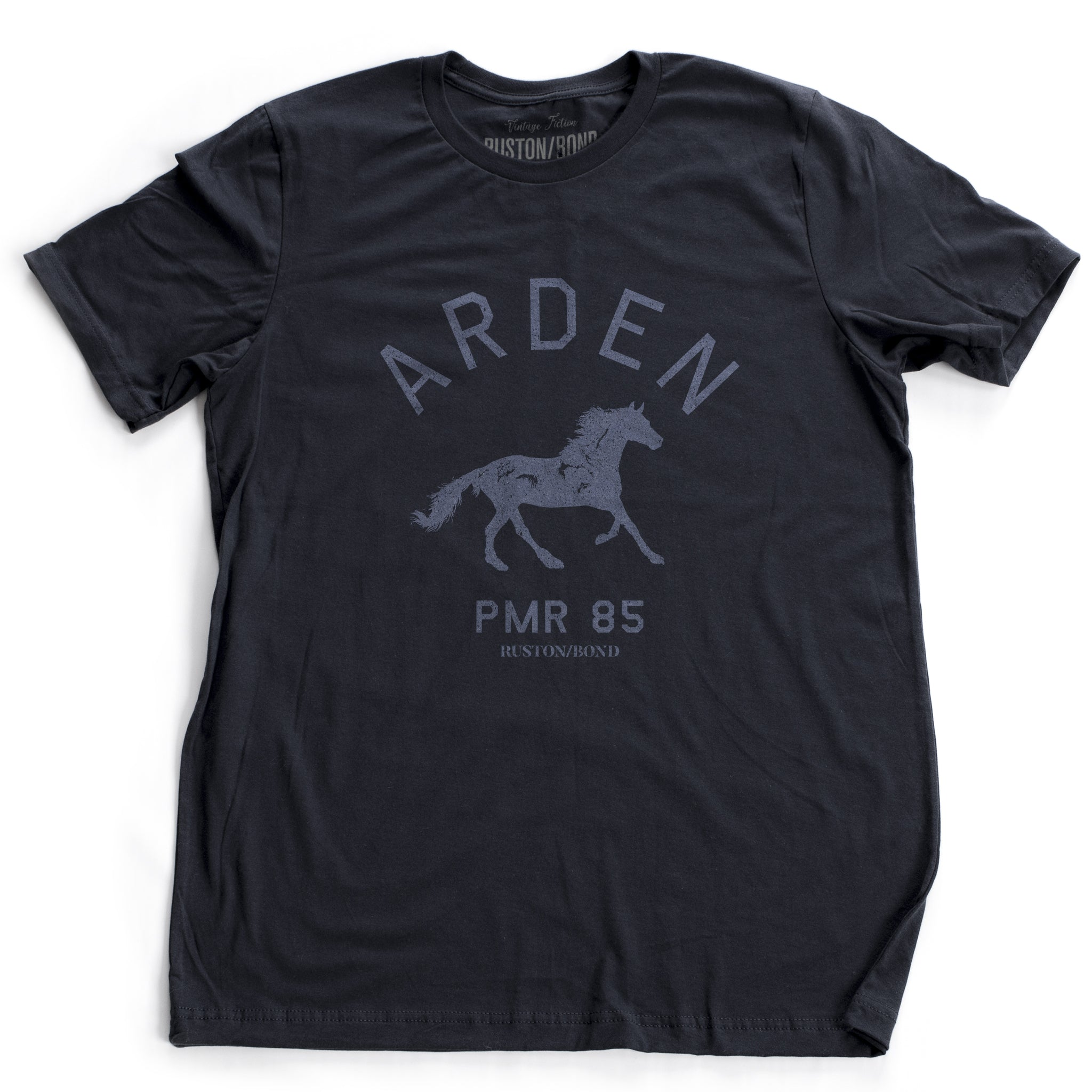 Navy Blue vintage, retro-inspired fashion t-shirt, with elegant classic typography and a running horse with an equestrian, horse-riding theme. From wolfsaint.net