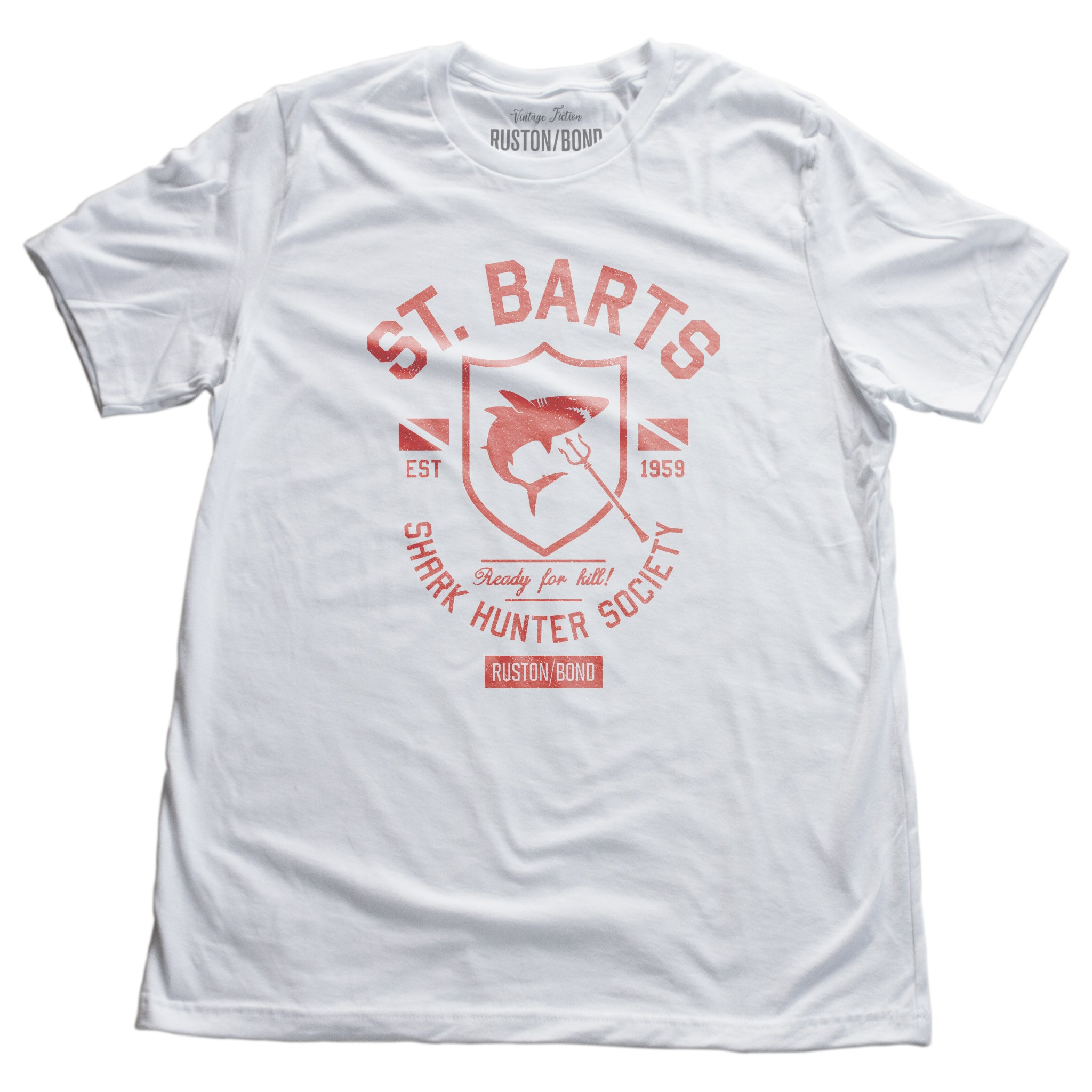 A vintage-inspired, retro design graphic t-shirt with sarcastic fictitious art, featuring a shark within a shield, for the imaginary St Bart's Shark Hunter Society. By fashion brand Ruston/Bond, for wolfsaint.net