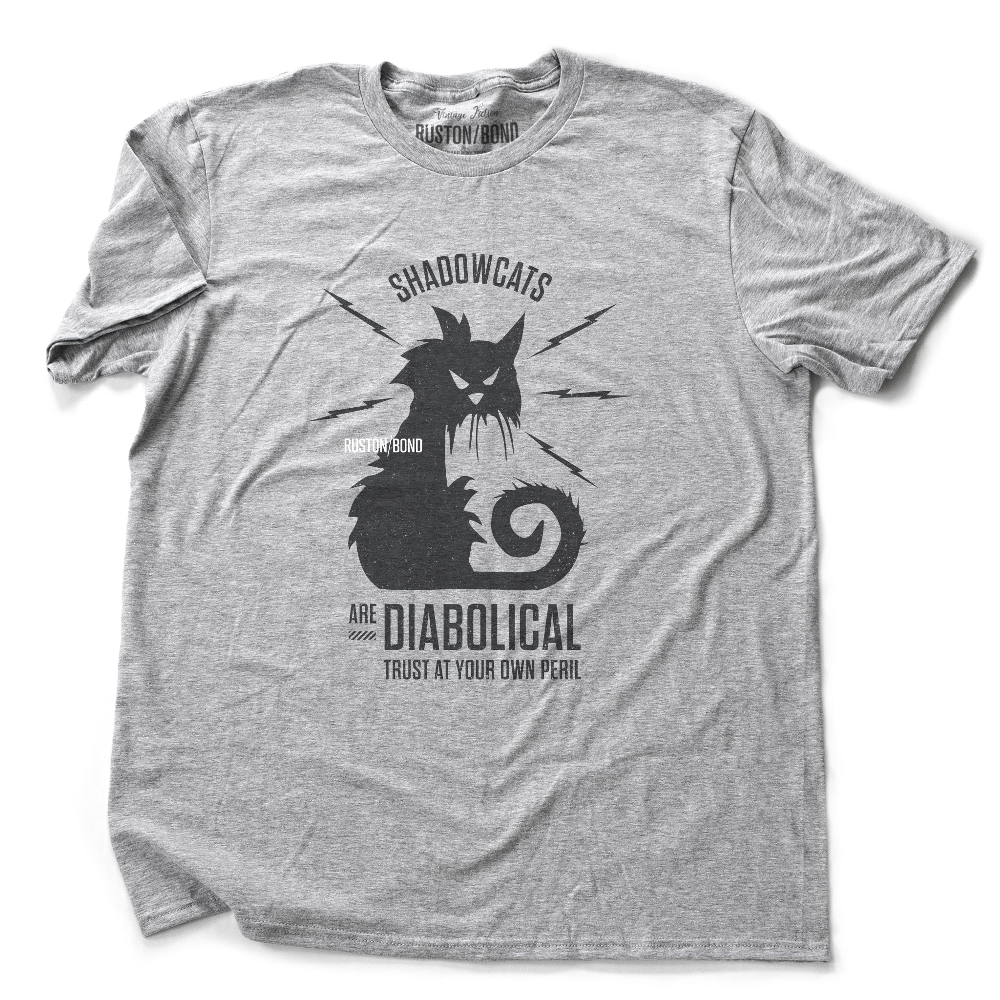 "A sarcastic retro graphic t-shirt in Heather Gray, with a classic vintage design, featuring an angry, electric cat surrounded by the words ""Shadowcats are diabolical—trust at your own peril."" By fashion brand Ruston/Bond, for wolfsaint.net"
