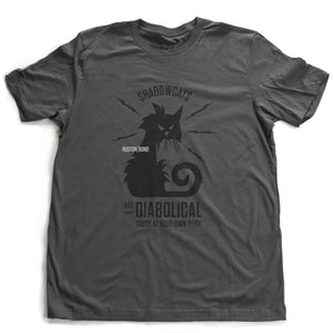 "A sarcastic retro graphic t-shirt in Asphalt Gray, with a classic vintage design, featuring an angry, electric cat surrounded by the words ""Shadowcats are diabolical—trust at your own peril."" By fashion brand Ruston/Bond, for wolfsaint.net"