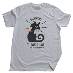 "A sarcastic retro graphic t-shirt in White, with a classic vintage design, featuring an angry, electric cat surrounded by the words ""Shadowcats are diabolical—trust at your own peril."" By fashion brand Ruston/Bond, for wolfsaint.net"