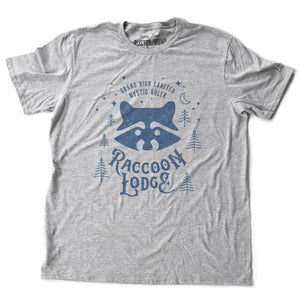 A vintage-look, retro t-shirt in Classic Heather Gray, inspired by Ralph Kramden and Ed Norton's club on The Honeymooners tv show. The graphic depicts the Raccoon Lodge from the tv show. By fashion brand Ruston/Bond, for wolfsaint.net