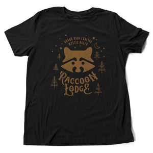 A vintage-look, retro t-shirt in Classic Black, inspired by Ralph Kramden and Ed Norton's club on The Honeymooners tv show. The graphic depicts the Raccoon Lodge from the tv show. By fashion brand Ruston/Bond, for wolfsaint.net