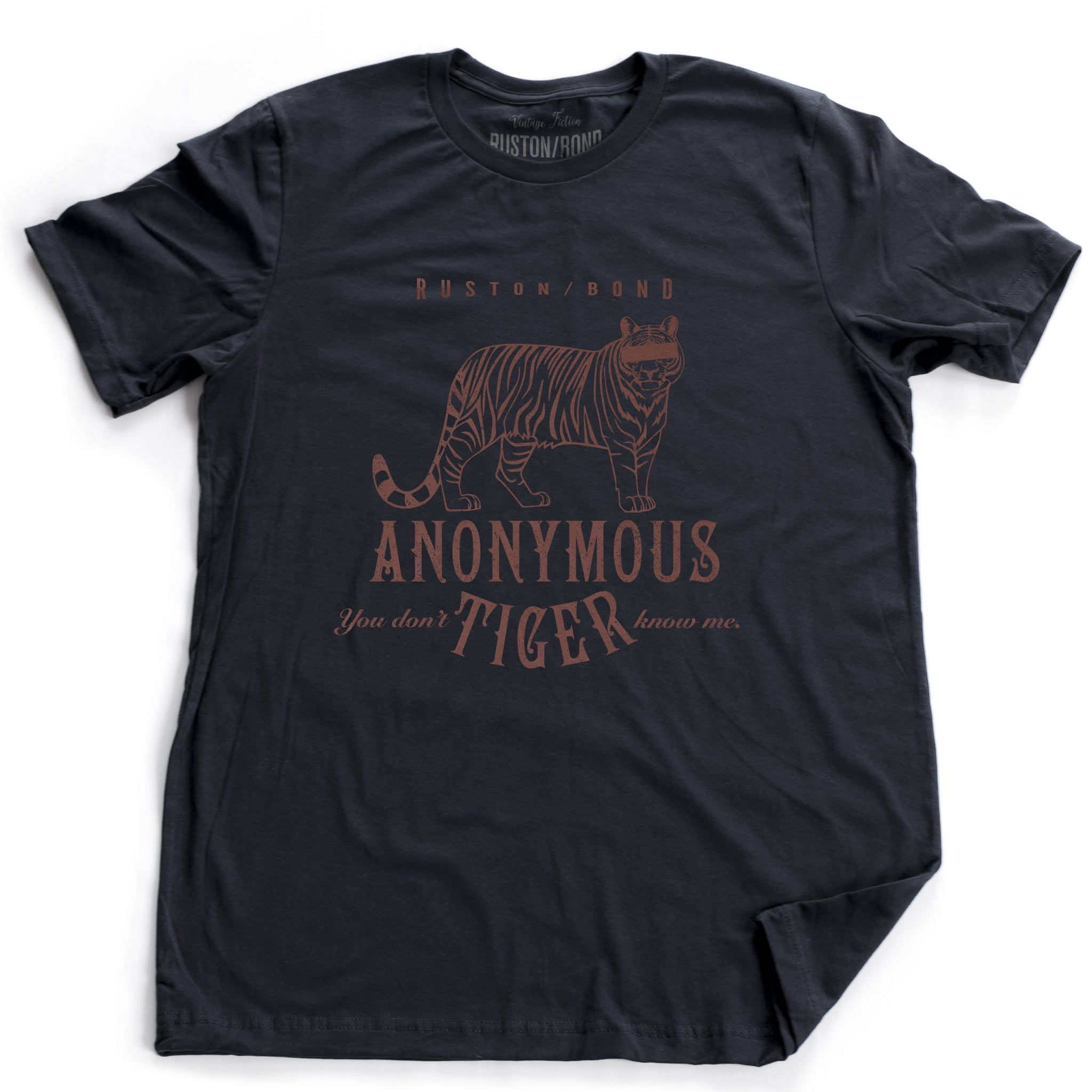 "Navy Blue retro, vintage-inspired fashion t-shirt with a sarcastic graphic of a masked, anonymous tiger and the text ""You don't know me"" by Ruston/Bond brand. From wolfsaint.net"