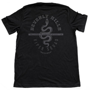 Retro, vintage-inspired sarcastic fashion t-shirt with a graphic design snake (viper), for a fictional club or gang in Beverly Hills, California. From the brand Ruston/Bond.